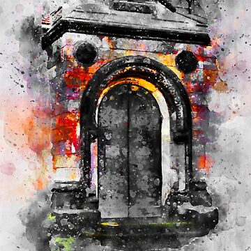 Old door Watercolor art/ Black and white  by NoraMohammed