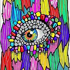 Eye In The Wall Crazy Colour Marker Drawing by jaggerstudios