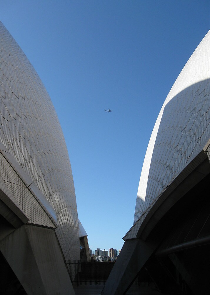 Aircraft between Opera House wings by Lozzie5243
