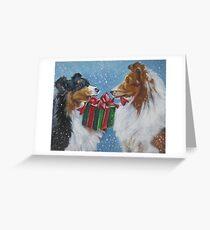 Shetland Sheepdog Christmas Fine Art Painting Greeting Card
