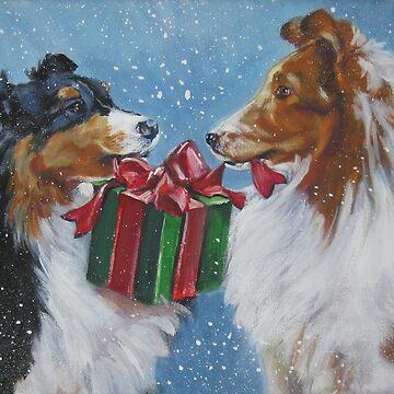 Shetland Sheepdog Christmas Fine Art Painting by lashepard