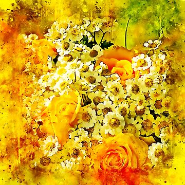 gxp flower bouquet roses daisies yellow splatter watercolor by gxp-design