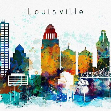 Loulsville Watercolor Skyline Design by DimDom