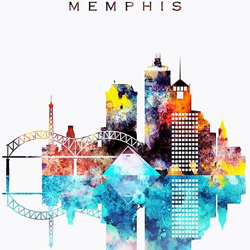 Colorful Watercolor Memphis Skyline by DimDom