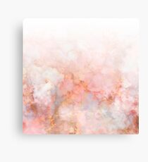 Frozen Pink and Gold Ombre Marble Pattern Metal Print