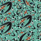 «Swallows and swift pattern (Turquoise)» de belettelepink