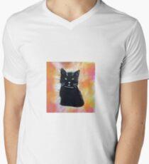 Picture black cat Men's V-Neck T-Shirt