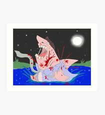 Transformation of the Sharkman Art Print
