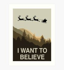 I want to believe in Christmas Card Art Print