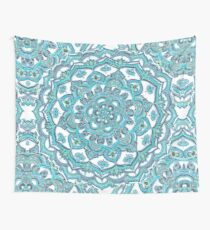 Summer Bloom - floral doodle pattern in turquoise & white Wall Tapestry