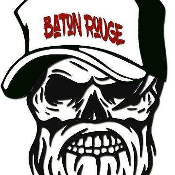 Baton Rouge Hometown Hipster Skull Trucker Cap Death by lemmy666