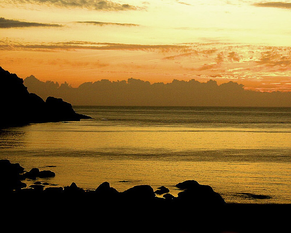 Sunset Over Come Martin Beach, Devon UK by Andrew  Bailey