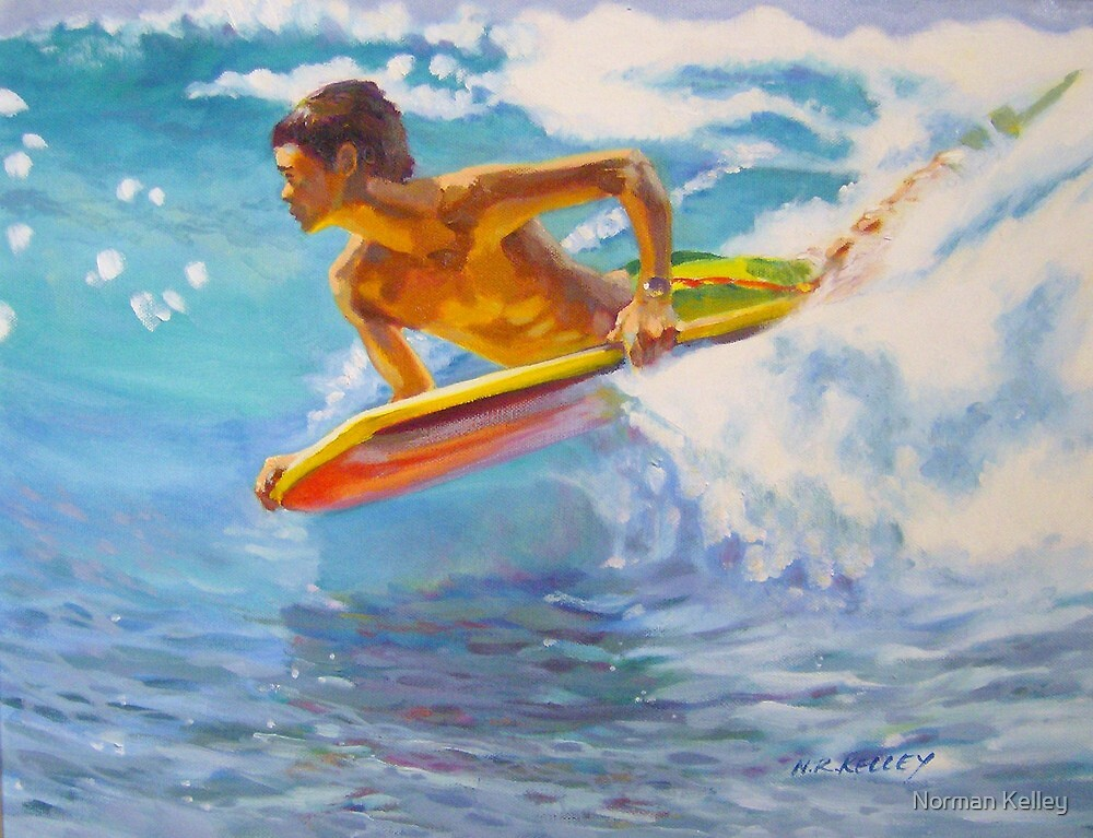 Boogie board and a wave by Norman Kelley