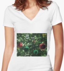Christmas Baubles Fitted V-Neck T-Shirt