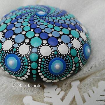 Winter spiral mandala stone- by mandalaole