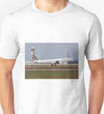 Airfrance Airbus A321 passenger jet at takeoff Photographed at Malpensa Airport, Milan, Italy Unisex T-Shirt