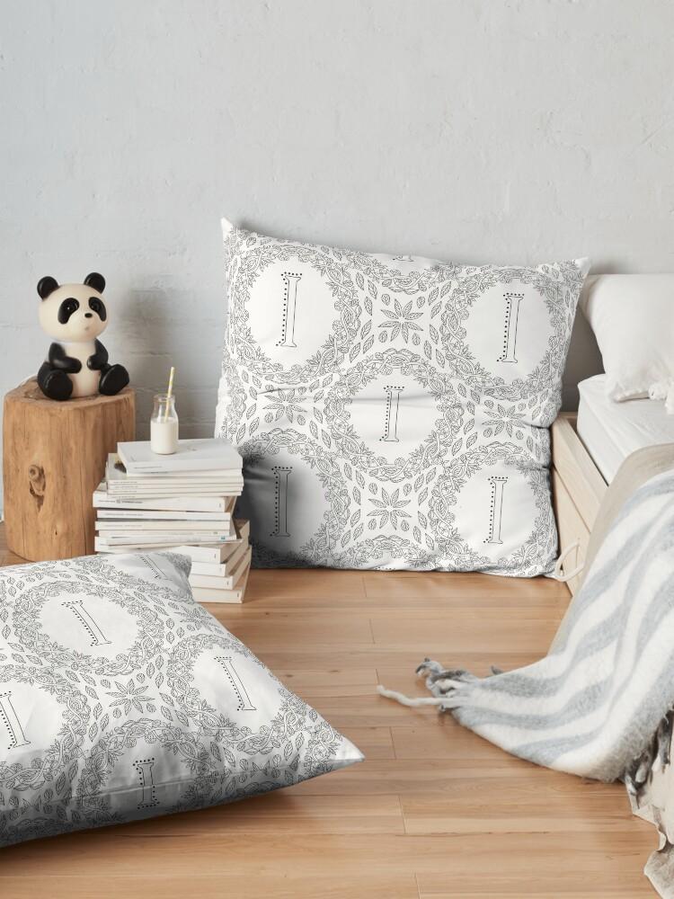 Alternate view of Letter I Black And White Wreath Monogram Initial Floor Pillow