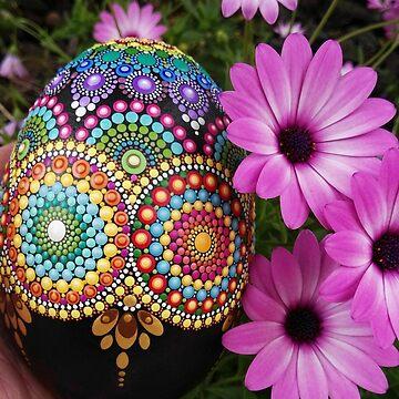 Mandala egg painted stone by mandalaole