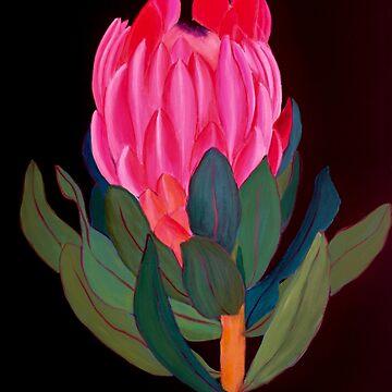 Rosa Blume in der Dunkelheit von IvysCraftShop