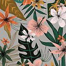 tropical florals on gray by Stacey Oldham