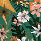 tropical floral on green by Stacey Oldham