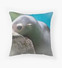 Slippery when wet - alluring sea lion Throw Pillow