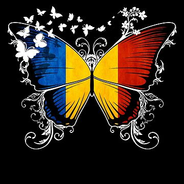 Romania Flag Butterfly Romanian National Flag DNA Heritage Roots Gift  by nikolayjs