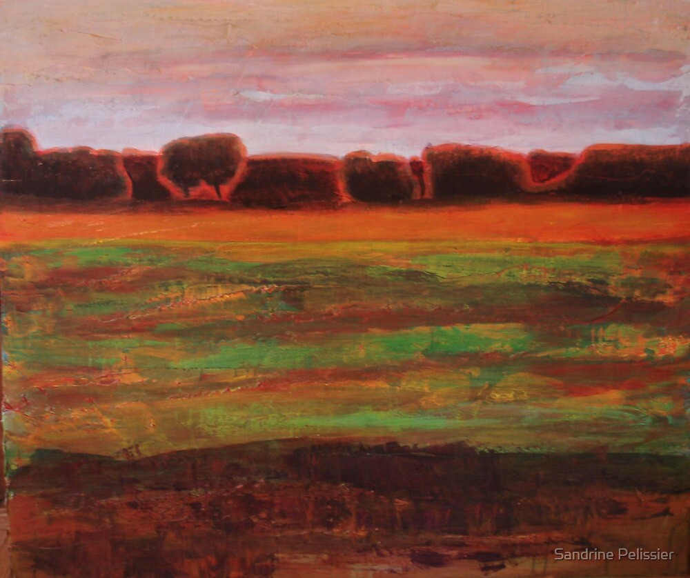 Beginning of October at the Forest Edge, mixed media on board by Sandrine Pelissier
