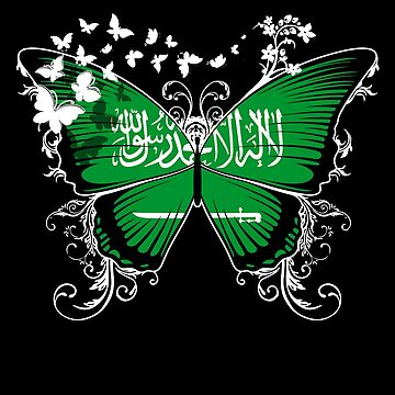 Saudi Arabia Flag Butterfly Saudi Arabian National Flag DNA Heritage Roots Gift  by nikolayjs