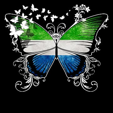 Sierra Leone Flag Butterfly Sierra Leonean National Flag DNA Heritage Roots Gift  by nikolayjs