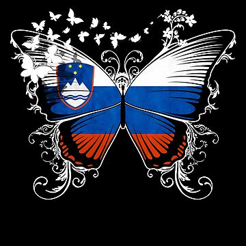 Slovenia Flag Butterfly Slovenian National Flag DNA Heritage Roots Gift  by nikolayjs