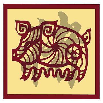 Chinese Zodiac Pig Cutout by HolidayT-Shirts