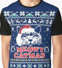 Meowy Christmas -Ugly Christmas Jumper Cat Lovers Gift Graphic T-Shirt