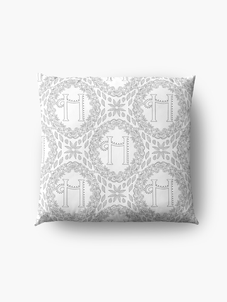 Alternate view of Letter H Black And White Wreath Monogram Initial Floor Pillow