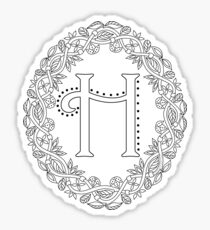 Letter H Black And White Wreath Monogram Initial Sticker