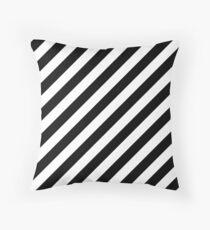 Black Thick Diagonal Stripes Throw Pillow