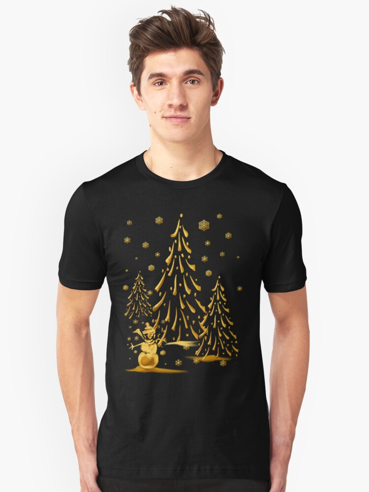 Gold Snowman and Christmas Tree Unisex T-Shirt Front