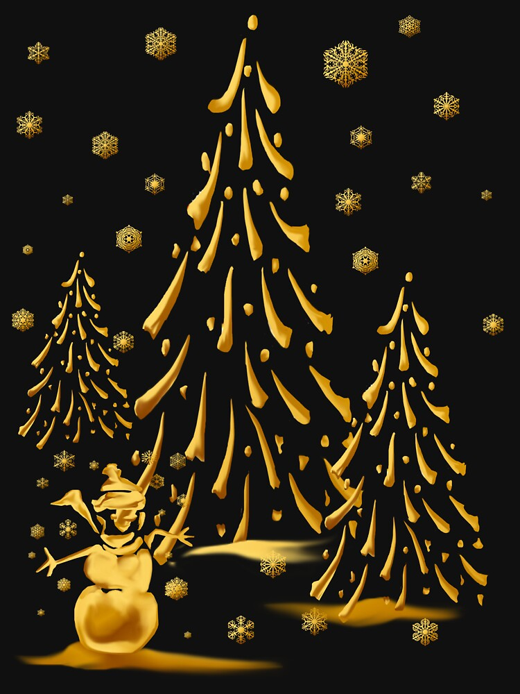 Gold Snowman and Christmas Tree by Lotacats