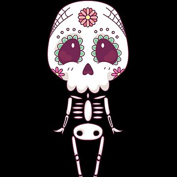 Cute Sugar Skull Cartoon Dia De Los Muertos Skeleton by nvdesign