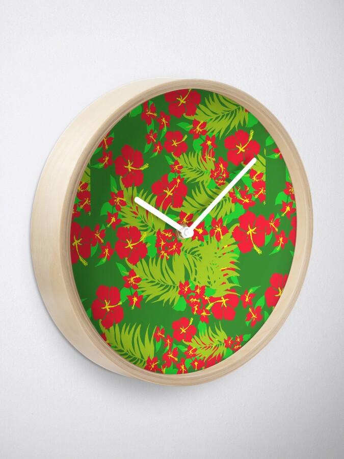Alternate view of Red Hibiscus Clock