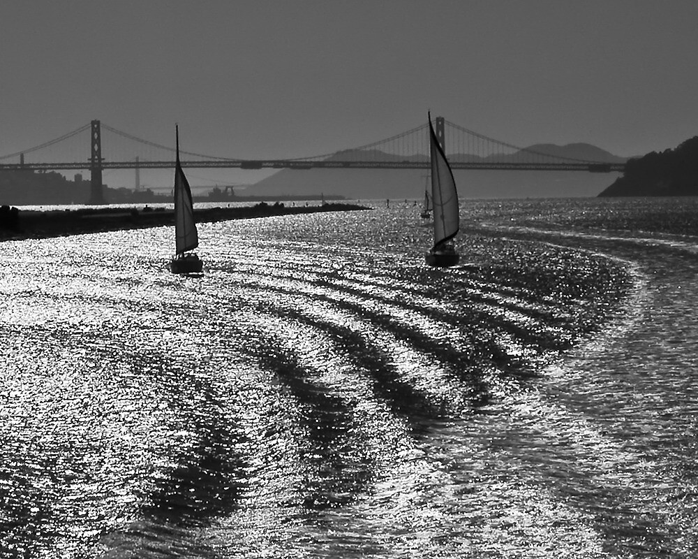 Boats and Bay Bridge, Oakland Middle Harbor by Cathy P. Austin