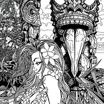 Girl with 2 Tiki Line art by Kaaawasaki