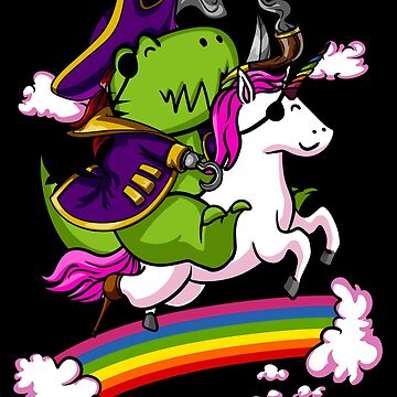 Pirate T-Rex Dinosaur Riding Unicorn Rainbow by underheaven