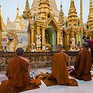 Monks at Shwedagon Pagoda by Mark Prior