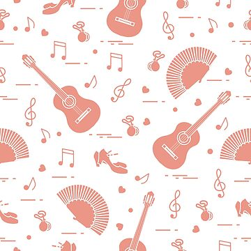 Pattern with fan, shoes, castanets, notes, guitars by aquamarine-p