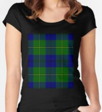 Clan Johnstone Tartan Scottish Surname Plaid Check Flannel Scotland Women's Fitted Scoop T-Shirt