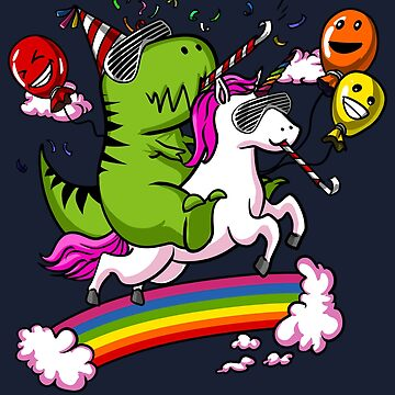 T-Rex Dinosaur Riding Unicorn Birthday Magical Rainbow by underheaven