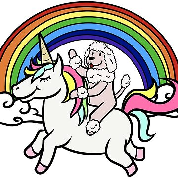 Funny Poodle Riding Unicorn by ilovepaws