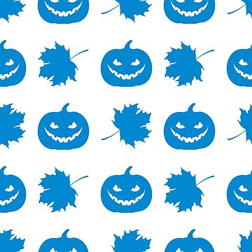 Halloween 2019 seamless pattern. Pumpkin, leaves. by aquamarine-p