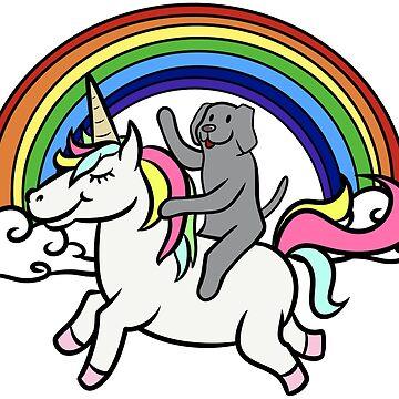 Funny Weimaraner Riding Unicorn by ilovepaws